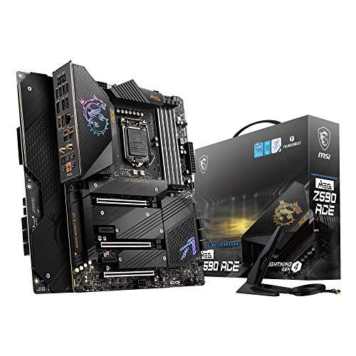 MSI MEG Z590 ACE Placa Base Gaming ATX - Soporta Procesadores Intel Core 11th Gen, LGA 1200 - Mystic Light, 16+2+1 Phase 90A SPS, DDR4 Boost (5600MHz/OC), 2 x PCIe 4.0 x16, 4 x M.2 Gen4/3 x4, Wi-Fi 6E