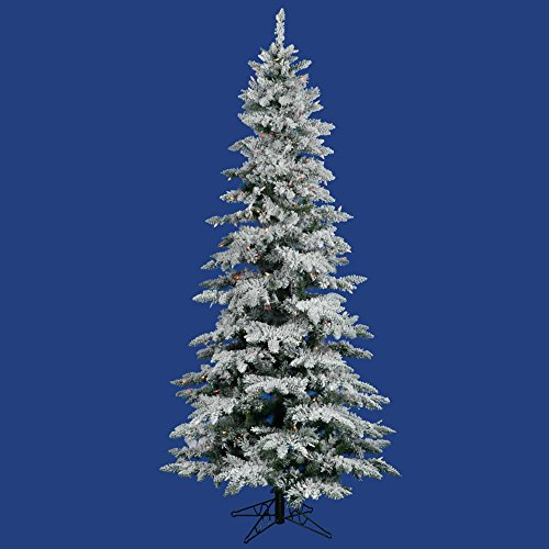 Vickerman Flocked Slim Utica Tree with 300 LED Light, 6.5-Feet by 39-Inch, Multicolored