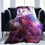 YISHOW Galaxy Animal Barn Owl Bird Fleece Couch Blanket,Plush Warm Flannel Throws Blankets for Youth Adult 60'X50'