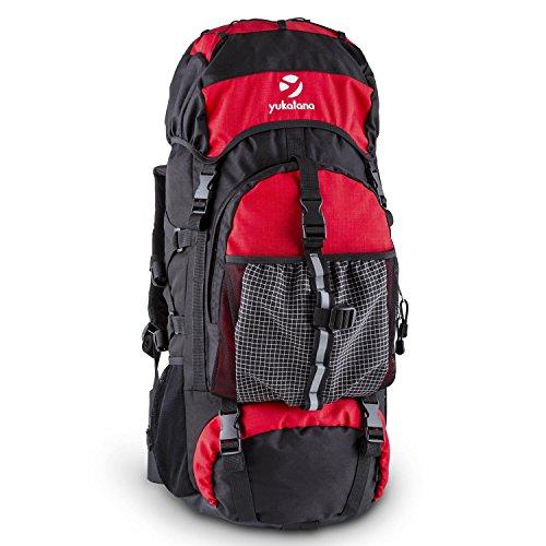 Yukatana Thurwieser - Rucksack, Backpacker, Trekking-Rucksack, Reiserucksack, 55 Liter, Nylon, wasserfest, Rückenpolsterung, 2 große Reißverschlussfächer, Seitentaschen, Netz, schwarz