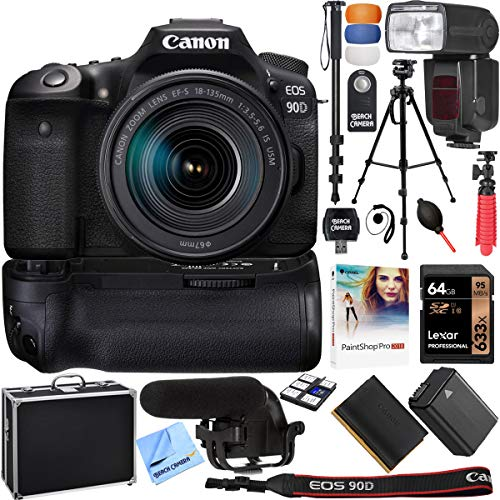 Canon EOS 90D 32.5MP CMOS Digital SLR Camera w/EF-S 18-135mm is USM Lens & More Bundle