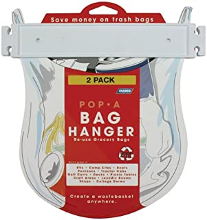 Camco Pop-A-Bag Plastic Bag Hanger- Neatly Mount and Reuse Plastic Grocery Bags, Easily Organize and Conserve Space in Your Kitchen (2 Pack) (43593)