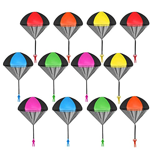 Lohoee Parachute Toy Tangle Free Throwing Toy Parachute Figures Hand Throw Soldiers Parachute Play Flying Outdoor Toys for Girls or Boys(12Pcs)