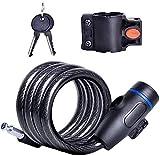 Plztou Bloqueo de Bicicleta Anti-Robo Universal Bloqueo de Cable de Acero Inoxidable for Ciclo de Motocicleta for la Cerradura de Seguridad de la Bicicleta con 2 Llave (Color : Black)