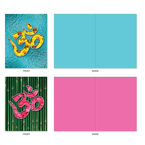 The Best Card Company - 10 Zen Blank Greeting Cards Assorted (4 x 5.12 Inch) - OM Blooms M3971 Photo #5