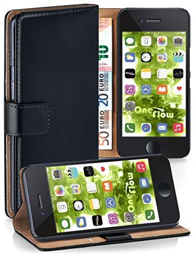 moex Klapphülle kompatibel mit iPhone 6s / iPhone 6 Hülle klappbar, Handyhülle mit Kartenfach, 360 Grad Flip Hülle, Vegan Leder Handytasche, Schwarz