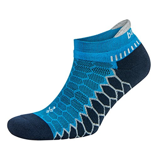 Balega Silver Antimicrobial No-Show Compression-Fit Running Socks for Men and Women (1-Pair), Bright Turquoise/Ink, Small