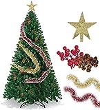 LucaSng SINCHER Albero di Natale Artificiale, 6 Piedi Ecologico, 1250 Rami Albero di Natale Premium, Pigne gratuite, Fagioli Rossi, Stella dell'albero di Natale, Nastro Rosso Dorato