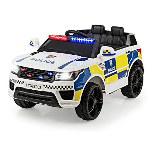 Costzon Kids Ride on Car, 12V Battery Powered Electric Police Truck w/ 2.4G Remote Control, Siren, LED Headlights, Microphone, Double Open Doors, Spring Suspension, SUV Vehicle for Children (White)