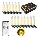 10/20/ 30/40 er Weinachten LED Kerzen Lichterkette Kerzen Weihnachtskerzen Weihnachtsbaum Kerzen mit Fernbedienung Kabellos (Beige, 30er)