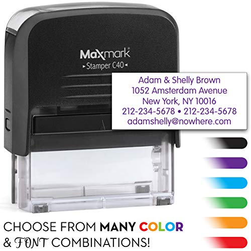 MaxMark Large Size - 5-Line Custom Return Self Inking Address Stamp - w/ 5-Year Warranty