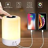 solawill LED Nachttischlampe, Nachtlicht Touch Dimmbar mit 4 USB Fast Anschlüsse 8 Farben RGB und Timing Funktion Stimmungslicht Tischleuchte für Kinder Augenschutz Nachtlampe für Schlafzimmer Camping
