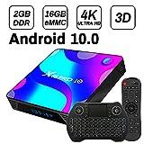 TV Box Android 10.0, 2GB 16GB Supports 4K 3D, Smart TV Box RK3318 Quad-Core 64bit Cortex-A53 Wi-FI 2.4G/5G LAN100M USB 3.0 BT 4.0