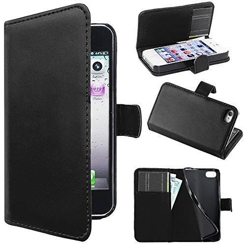 ebestStar - Coque Compatible avec iPhone 4, 4S Apple Etui PU Cuir Housse Portefeuille Porte-Cartes Support Stand, Noir [Appareil: 115.2 x 58.6 x 9.3mm, 3.5'']