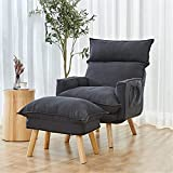 Single Upholstered Armchair - Tatami Floor Lounger with Footstool - Sofa Chair Simple Sofa Bed for Bedroom Living Room Office Lounge Meditation Reading Chair