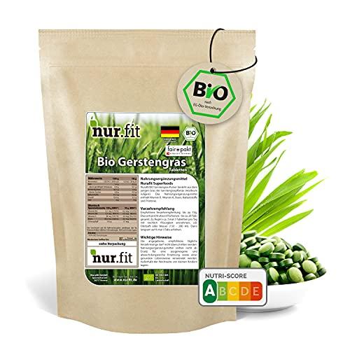 nur.fit by Nurafit BIO Gerstengras Presslinge 250g / 500 Stück – rein natürliche Tabs aus Gerstengras ohne Zusatzstoffe aus deutschem Anbau - Bio zertifiziert mit Vitaminen und Eisen