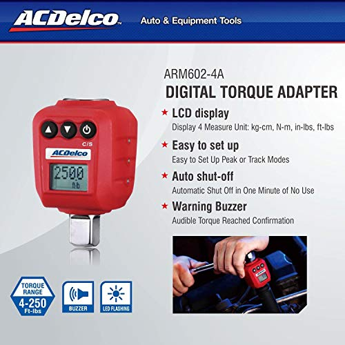 """ACDelco ARM602-4A 1/2"""" (25 to 250 ft-lbs.) Heavy Duty Digital Torque Adapter with Buzzer and LED Flash Notification – ISO 6789 Standards with Certificate of Calibration"""