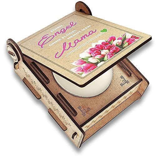 Candle IN THE BOX Kerze für Mama mit Botschaft, Engel ohne Flügel nennt Man Mama, Geschenkideen für Mutter, Beste Mama Danke Geschenk