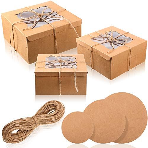 Juego de Cajas de Pastel de Cartón con Ventana, 7 Piezas Cajas de Tarta Resistentes 7 Piezas Tableros de Pastel y 12 Piezas Cintas de Colores, 10 Pulgadas, 8 Pulgadas, 6 Pulgadas (Marrón)