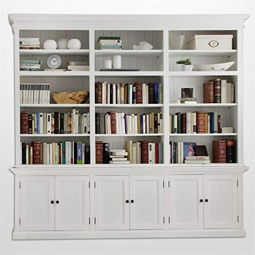 Beaumont Lane Mahogany Wood Triple Bookcase with 6 Doors Storage in Pure White