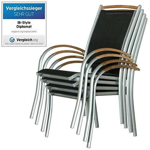 IB-Style - Diplomat Gartenstuhlset Stapelbar | ALU SILBERMATT + TEAKHOLZ + Textilen SCHWARZ | 2 Farben | 3 Set- Kombinationen | Mehrfach gewebt - 6er Set