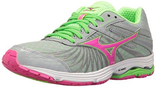 Mizuno Women's Wave Sayonara 4 Running Shoe, Grey/Pink, 8 B US