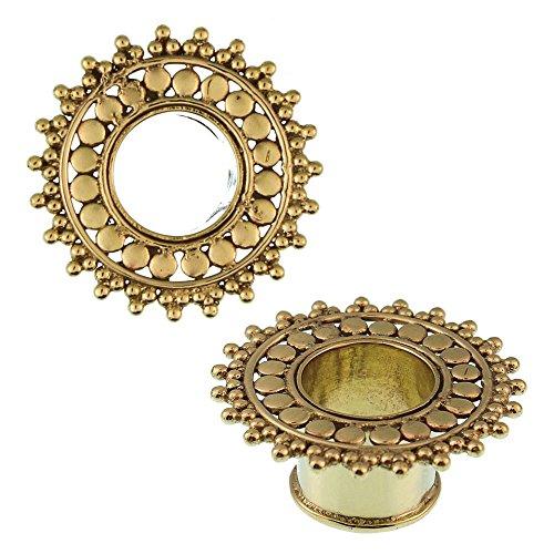 Chic Latón Net túnel círculos triángulos latón dorado antiguo níquel libre enchufe de expansión pendientes orgánicos