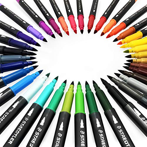 Staedtler Marsgraphic Duo Watercolour Fibre Tip Pens - Double Ended - Assorted Colours - Wallet of 36