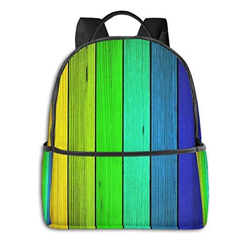 SGSKJ Mochila Tipo Casual Mochila Escolares Mochilas Escolar Estilo Impermeable para Viaje De Ordenador Portátil para Hombre Mujer Madera rústica del Arco Iris