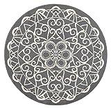Zala Living Mandala Redondo Ø140Designer Terciopelo Alfombra, Polipropileno, Gris, 140x 140x 0,9cm
