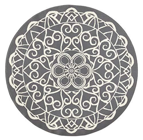 Zala Living Kurzflor Teppich Mandala Grau rund, ø 140 cm