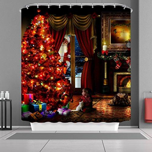 vancar Wasserdicht Badezimmer Decor Custom Xmas Weihnachten Duschvorhang Sets mit Haken 167,6x 182,9cm Santa Claus Christmas Eve Baum Geschenke Kamin Muster Print