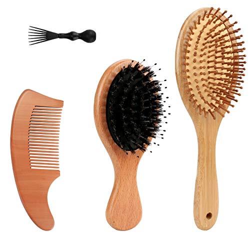Wildschweinborsten Haarbürste, Brynnl Haarbürsten Set Natürliche Holzpaddel Haarbürste Massage Big Board Haarkamm Detangler Bürste mit Haarentfernungsreiniger für Männer Frauen Kinder