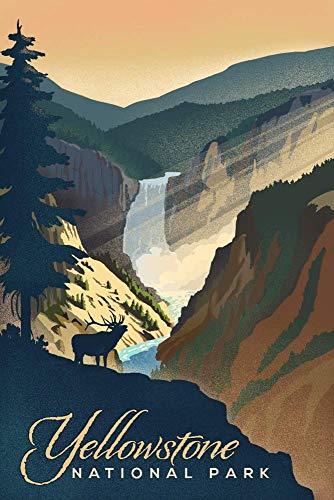 BENXI EOPVDS Yellowstone National Park – Yellowstone Falls – Letrero de metal retro de hojalata divertida placa de garaje decoración de pared para bares, restaurantes, cafeterías, pubs 20,3 x 30,4 cm