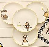 NAMA Western Steak Platos y Platos Hueso de cerámica China Decoración esmaltada Placa Redonda Monkey Character Planted Four Pieces One Set