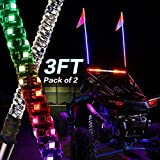 YCHOW-TECH 2Pcs 3ft LED Whip Lights with RF Remote Control 360° Spiral Lighted Whips RGB Dancing/Chasing Light Antenna LED Whips for ATV UTV RZR Polaris Off Road Truck Buggy Dune 4X4 SXS
