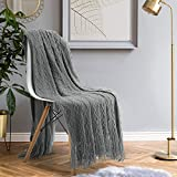 HOMEIDEAS Knit Blanket (50×61 Inches), Soft Textured Acrylic Blanket with Tassels, Lightweight Woven Decorative Blanket for Couch Sofa Chair Bed Living, Throw Blanket Grey