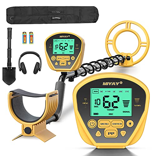 Metal Detector, Lightweight Adjustable Metal Detectors for Adults & Kids, High Accuracy with Pinpoint & Disc & Notch & All Metal 5 Modes, 10' Search Coil Waterproof, Great for Treasure Hunting