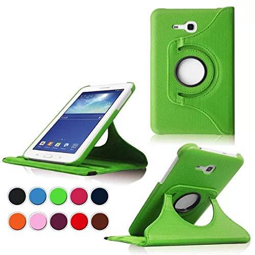 DETUOSI Case für Samsung Tab 3 Lite 7.0,Schwarz 360° Drehbares Schutzhülle Leder Tasche Samsung Galaxy Tab 3 Lite 7.0 T110 T111 (7 Zoll) Hülle Leder Etui Flip Cover mit Schwenkbar flexiblem Ständer