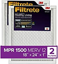 Filtrete 18x24x1, AC Furnace Air Filter, MPR 1500, Healthy Living Ultra Allergen, 2-Pack (exact dimensions 17.81 x 23.81 x 0.78)