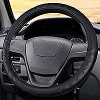 ハンドルカバー革製の車のハンドルカバー、耐久性のある安全性、滑り止め、通気性、男性と女性の自動車部品に適しています4色のハンドルカバー-ブラック