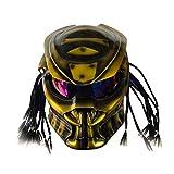 WGIRL Casco De La Motocicleta Predator Máscara Facial Completa Fibra De Carbono Iron Man Trenzas con Flecos Luz LCD Y Micrófono Incorporado para Auriculares, Incluido ECE Aprobado,M