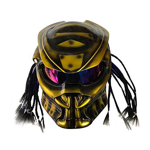 WGIRL Casque De Moto Predator Masque Complet en Fibre De Carbone Iron Man Tresses Frangées Lumière LCD Et Microphone Casque Intégré, Y Compris Homologué ECE,L