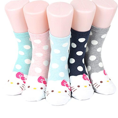 world look Hello Kitty Series Women's Original Socks 5 pairs (5 color) = 1 pack Made in Korea/MACAROON