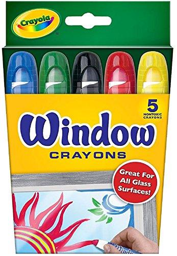 Crayola Washable Window Crayons, Assorted 5 ea (Pack of 18)