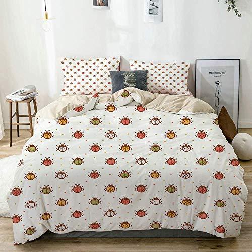 772 soft microfiber Duvet Cover Set Kids Pastel Colored Ladybugs Print Beige Decorative 3 Piece Bedding Set with 2 Pillow Shams Double Size