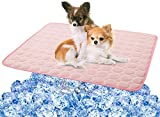 Cooling Mat Pad for Dogs Cats Ice Silk Mat Cooling Blanket Cushion for Kennel/Sofa/Bed/Floor/Car Seats Cooling (XL:40 x 28 inches, Pink)