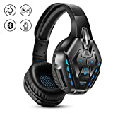 Wired Gaming Headset for Ps4, Xbox One, Nintendo Switch, PC, PHOINIKAS Over Ear Headphone with Detachable Noise Canceling Microphone, Wireless Bluetooth Headset with Built-in Mic, for Music/Mobile Gam