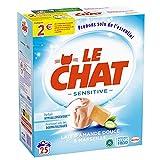 Le Chat Sensitive – 25 Lavages (1.625kg) – Lessive Hypoallergénique en Poudre Savon de Marseille Amande Douce & Aloe Vera