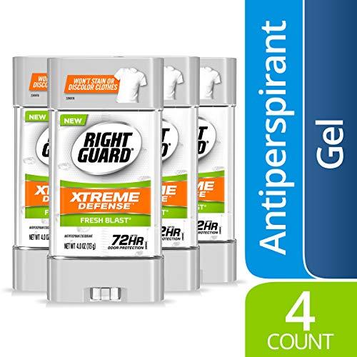 Right Guard Xtreme Defense Antiperspirant Deodorant Gel, Fresh Blast, 4 Ounce, 4 count